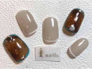 アイネイルズ 梅田店(I nails)/べっ甲囲みネイル