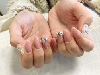 シャンティ ネイルサロン(Shanti nail salon)/春ピンク蝶ネイル♪
