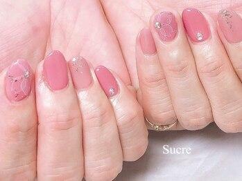 シュクル(Sucre)/桜ネイル☆たらしこみフラワー