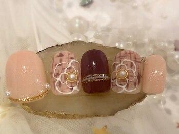 ネイルアンドアイラッシュ ブレス エスパル山形本店(BLESS)/花柄ツイード