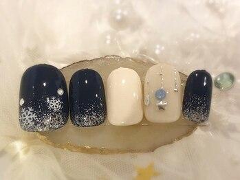 ネイルアンドアイラッシュ ブレス エスパル山形本店(BLESS)/雪化粧ネイル