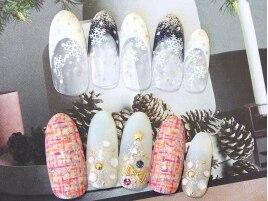 クリスマスNAIL★雪の結晶¥6000