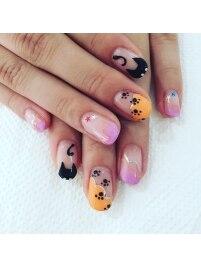 秋★ハロウィン猫ネイル