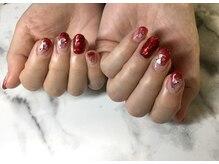 ネイルサロンブラン(nail salon BLANC)/赤のニュアンスネイル