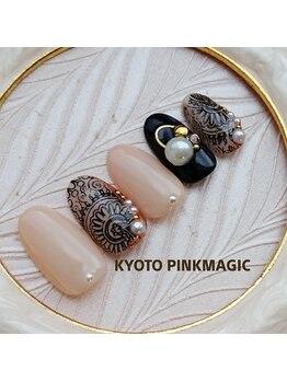 ピンクマジック(PINKMAGIC)/黒レースネイル