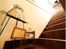 2Fへつながる階段。2Fの店舗でお待ちしております。