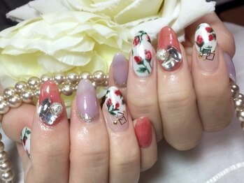 シャンティ ネイルサロン(Shanti nail salon)/冬の手描きフラワーアート