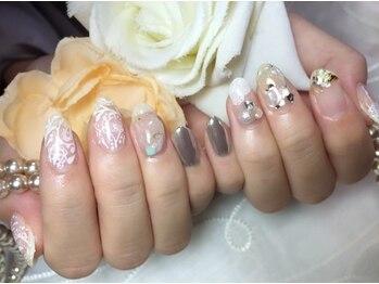 シャンティ ネイルサロン(Shanti nail salon)/冬クリアペイズリーミラーネイル