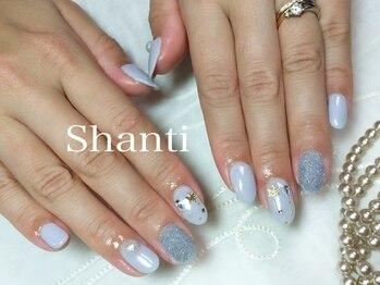 シャンティ ネイルサロン(Shanti nail salon)/冬雪の結晶ベルベットネイル☆