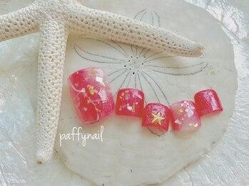 ピンクの大理石風ネイルフット