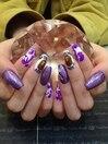 紫キラキラネイル