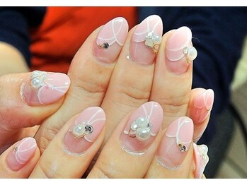 ビューティーサロン ルームフォーユー(Room 4U)/ピンク変形フレンチに大粒パール
