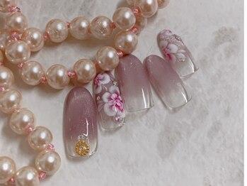 ネイルアンドビューティー 凛空(nail&beauty link)/マグネットネイル+お花
