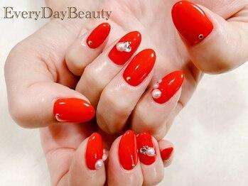 エブリディビューティー 吉祥寺店(Every Day Beauty)/明るめの赤にパールのデザイン