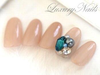 ラグジュアリーネイルズ カワグチ(Luxury Nails Kawaguchi)/ワンカラー&3Dジュエルビジュー