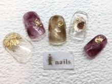 アイネイルズ 梅田店(I nails)/パープル金箔ネイル