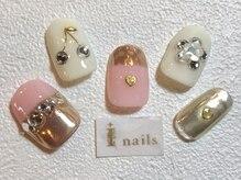 アイネイルズ 梅田店(I nails)/ガーリーミラーネイル