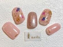アイネイルズ 梅田店(I nails)/スタッズ×押し花