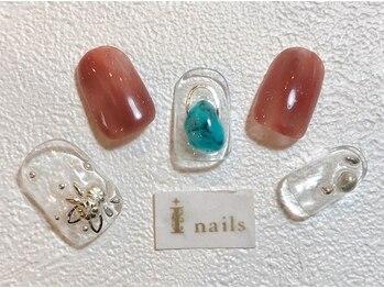 アイネイルズ 梅田店(I nails)/ターコイズ×スタッズフラワー