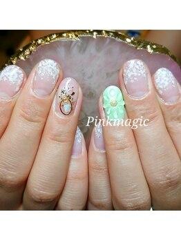 ピンクマジック(PINKMAGIC)/クリアの立体お花ネイル