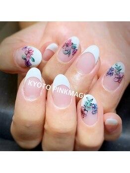 ピンクマジック(PINKMAGIC)/手描きお花ネイル
