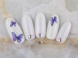 蝶々×オーロラミラーネイル♪