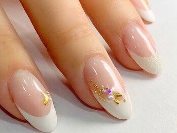 リノ ネイル(Rino nail)の写真/【梅田22時迄】自爪に優しいシャイニージェル・パラジェル使用!華やかネイルが出来ない方にもおすすめ♪