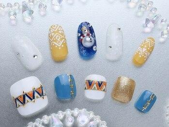 ビエンネイル(Bien nail)/冬限定◇雪だるま×幾何学アート