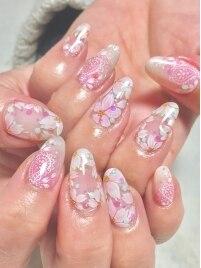 桜&ペイズリーネイル