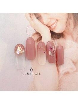 ルナ ネイル(LUNA NAIL)/くすみピンク×押し花