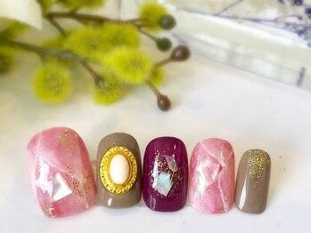 ネイルアンドアイラッシュ ブレス エスパル山形本店(BLESS)/華やか大理石ネイル
