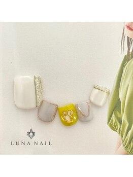 ルナ ネイル(LUNA NAIL)/【フット】白×マスタード