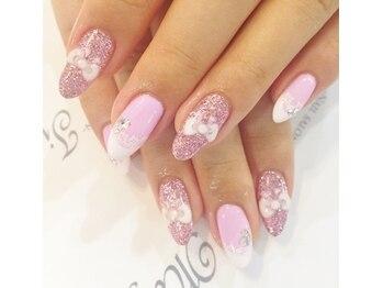 ネイルサロン マジックティンク(Magic Tink)/pink×リボン×レース なネイル