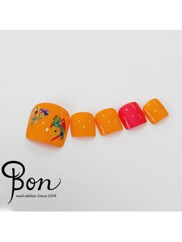 ネイルアトリエ ボン(nail atelier bon)/オレンジカラー♪