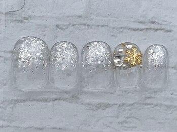 シルバーラメ結晶ネイル 6980円