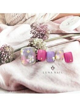 ルナ ネイル(LUNA NAIL)/【フット】ふんわりフラワー