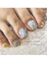 【FOOT】オーロラ大理石×夏nail