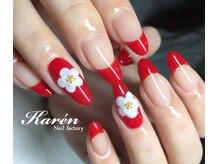 ネイルファクトリー カレン(Nail factory Karen)/赤フレンチ♪お花アート
