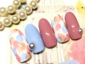 ネイルアンドアイラッシュ ブレス エスパル山形本店(BLESS)/大きめパールとカラフルドット!