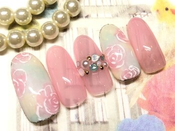 ネイルアンドアイラッシュ ブレス エスパル山形本店(BLESS)/ふわっとお花のアート!