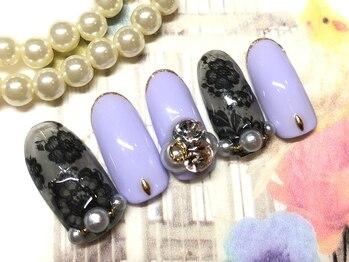 ネイルアンドアイラッシュ ブレス エスパル山形本店(BLESS)/黒レースゴージャスネイル!