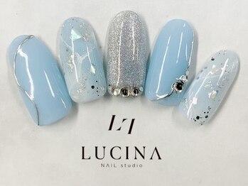 ネイルスタジオ ルキナ(LUCINA)/C-178 ブルー系ブライダルネイル