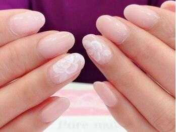 ピュアネイルズ(Pure nails)の写真/【ご新規様に嬉しいネイル全メニュー10%オフクーポン】シンプルな日常ネイルもブライダルネイルもお任せ♪