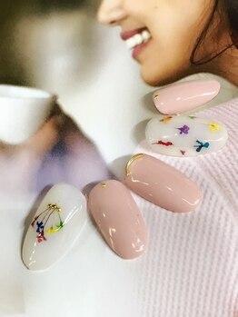 ビューティー プレイス ジャム イップク(Beauty Place JAM IPPUKU)/●秋ピンク特集/押し花ネイル