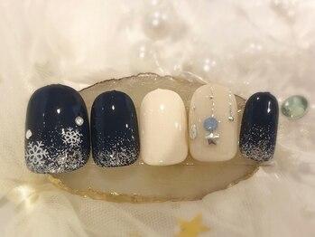 ネイルアンドアイラッシュサロン ブレス 長町南駅店(BLESS)/冬結晶ネイル