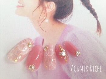 アグニークリッシェ(Agunik Riche)/【水彩フラワーネイル】
