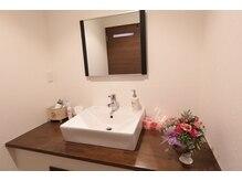 ドライヤーやアメニティーの充実した清潔感のある綺麗な洗面所。