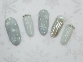 ミラーネイル&雪の結晶マット