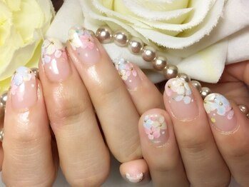 シャンティ ネイルサロン(Shanti nail salon)/春 手描きフラワーネイル!