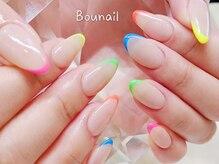 ボネール(nail & eyelash Bounail)/カラフルフレンチアシンメトリー